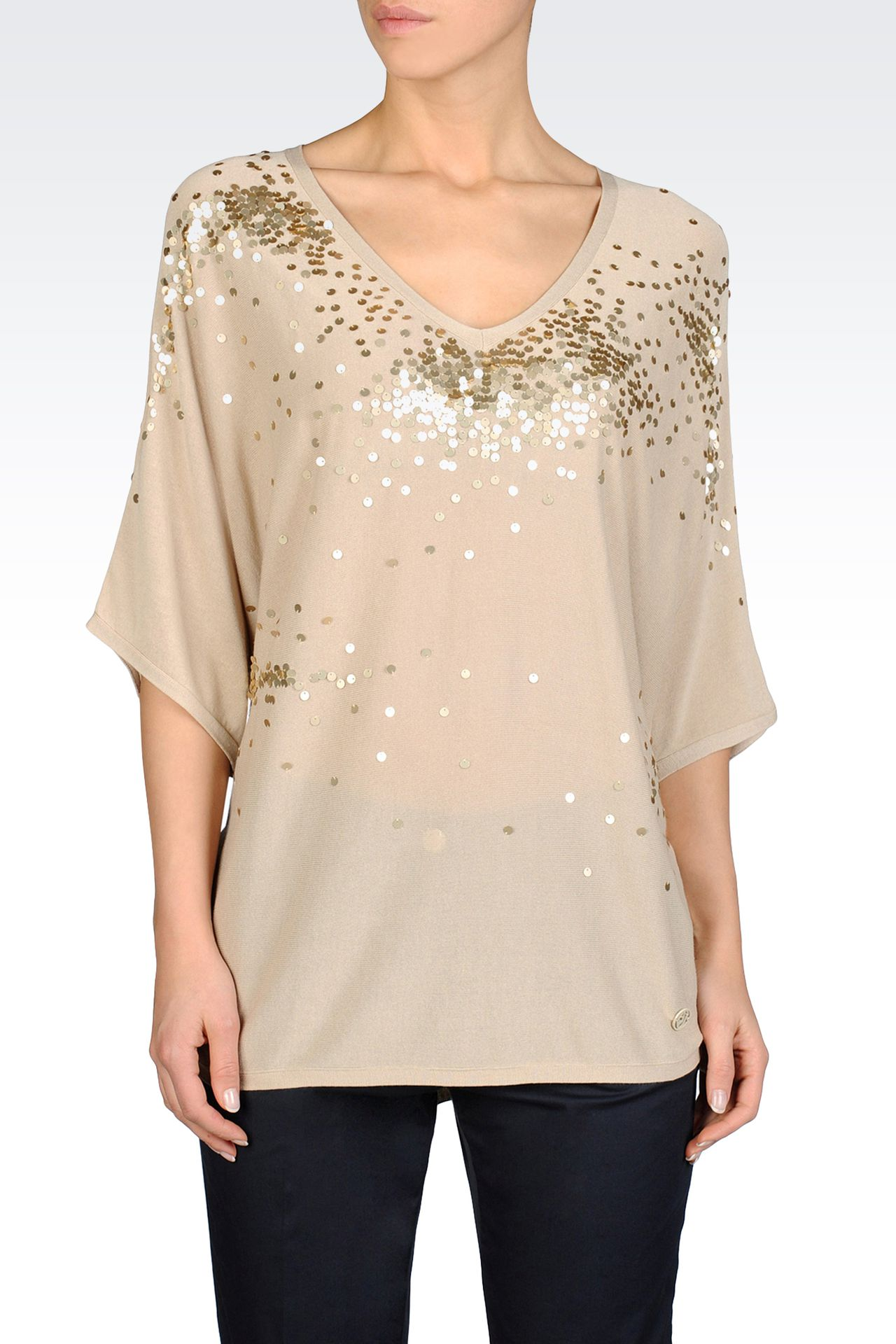 BATWING SWEATER WITH SEQUINS: V  neck sweaters Women by Armani - 0