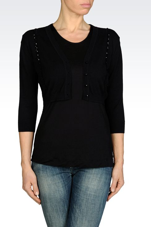 SHORT CARDIGAN IN LIGHTWEIGHT VISCOSE : Cardigans Women by Armani - 1