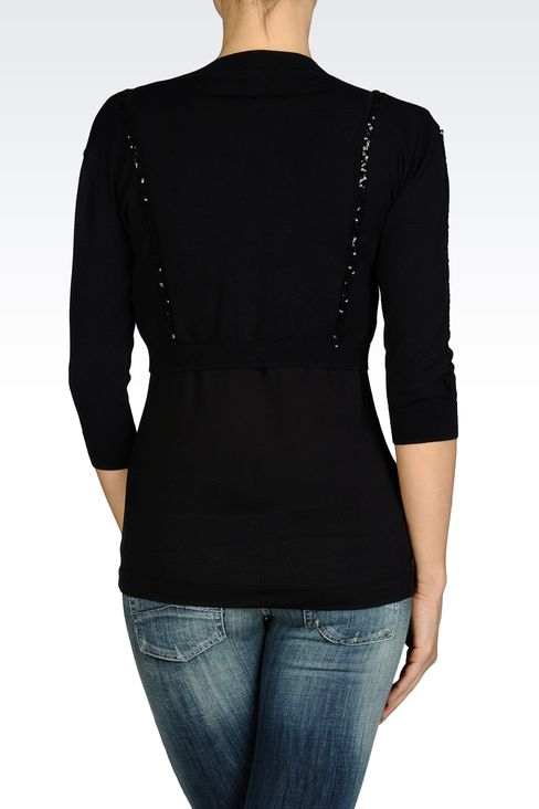 SHORT CARDIGAN IN LIGHTWEIGHT VISCOSE : Cardigans Women by Armani - 2