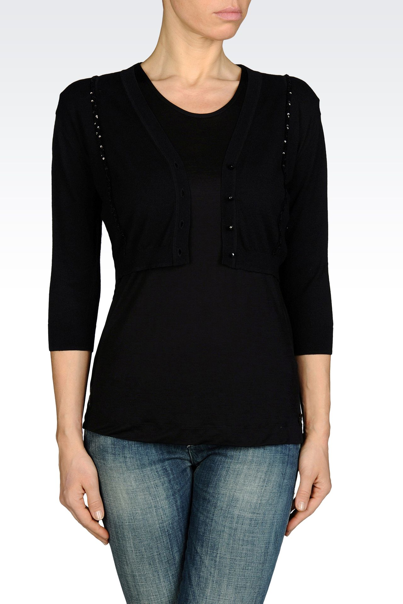 SHORT CARDIGAN IN LIGHTWEIGHT VISCOSE : Cardigans Women by Armani - 0