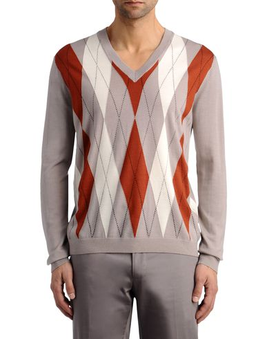Elongated Argyle V-Neck