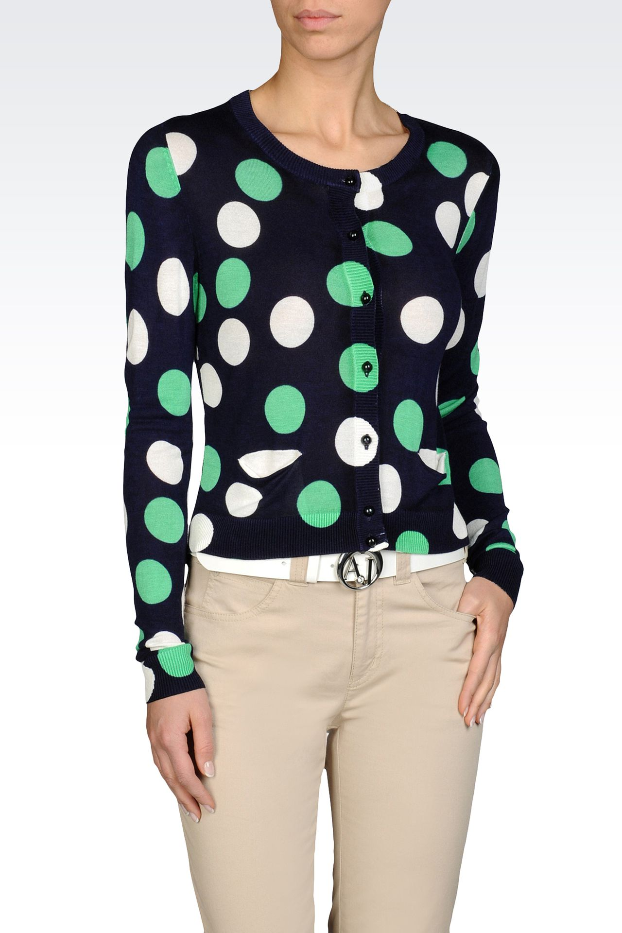 LIGHTWEIGHT VISCOSE CARDIGAN POLKA DOT PRINT: Cardigans Women by Armani - 0