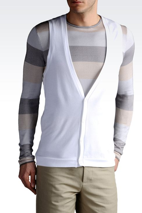 V NECK VEST IN PIQUE AND JERSEY: V  neck sweaters Men by Armani - 1