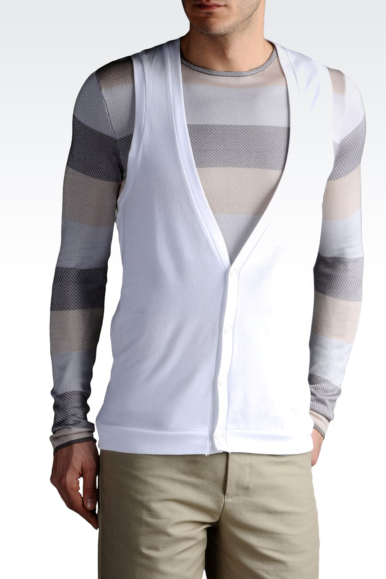 V NECK VEST IN PIQUE AND JERSEY: V  neck sweaters Men by Armani - 0