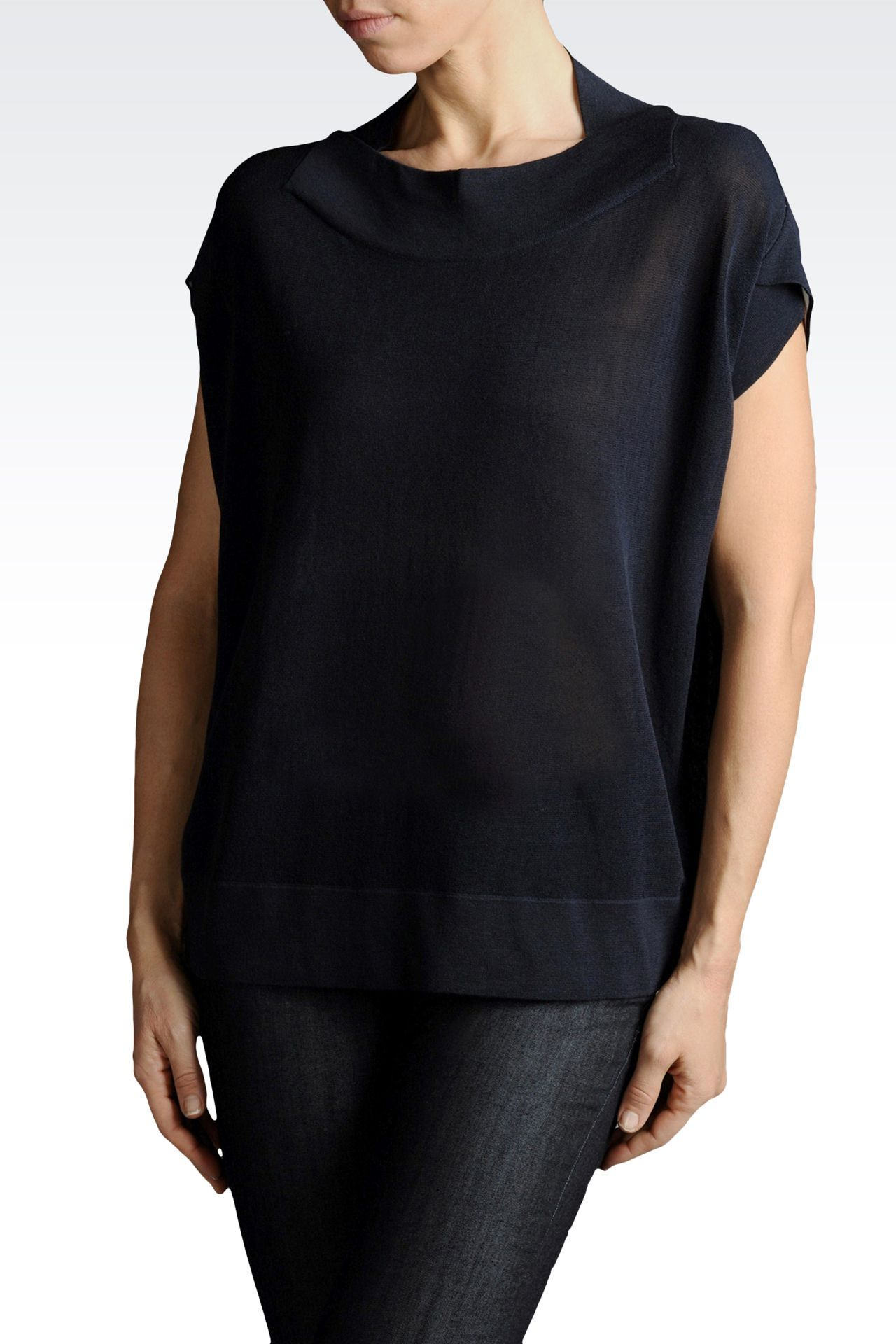 TWO-COLOR KNIT IN COTTON AND VISCOSE: Crewneck sweaters Women by Armani - 0