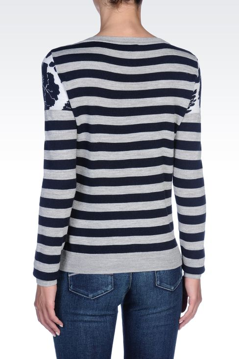 STRIPED WOOL-BLEND CARDIGAN: Cardigans Women by Armani - 3
