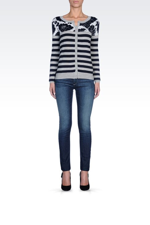 STRIPED WOOL-BLEND CARDIGAN: Cardigans Women by Armani - 1