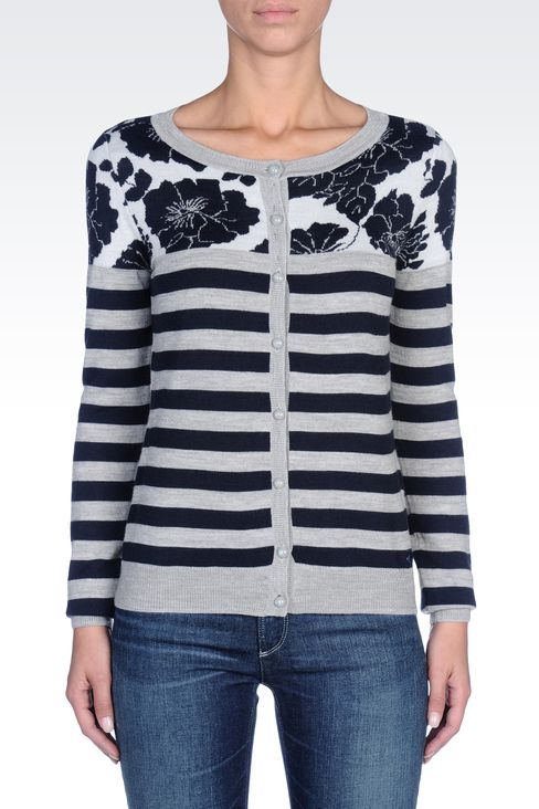 STRIPED WOOL-BLEND CARDIGAN: Cardigans Women by Armani - 2