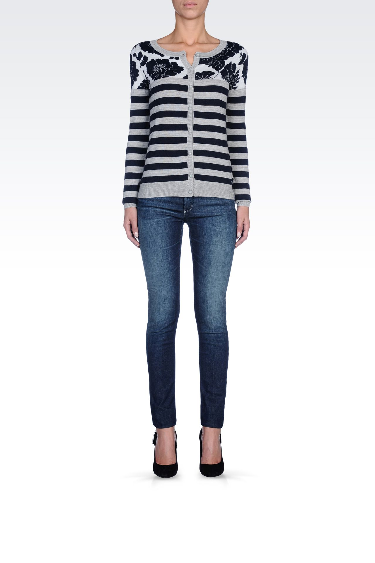 STRIPED WOOL-BLEND CARDIGAN: Cardigans Women by Armani - 0