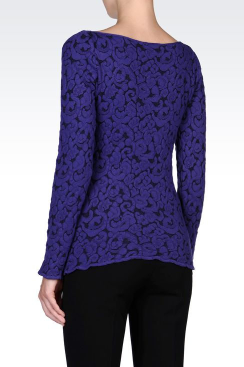 JACQUARD SWEATER WITH BOAT NECK: Crewneck sweaters Women by Armani - 3