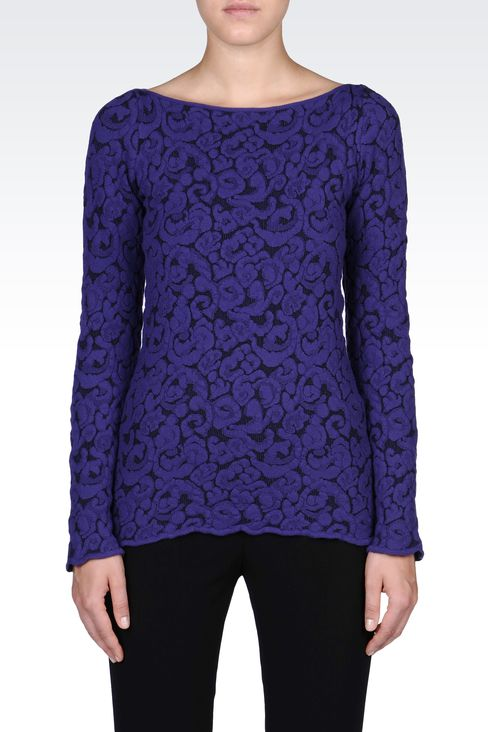 JACQUARD SWEATER WITH BOAT NECK: Crewneck sweaters Women by Armani - 2