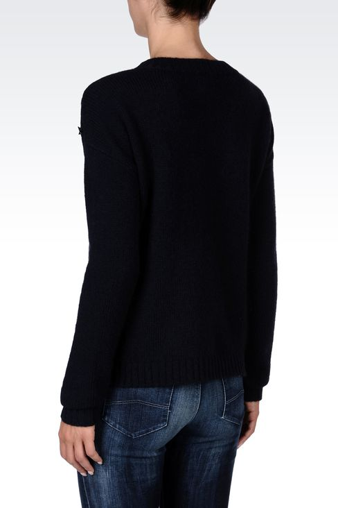 STUDDED CREW NECK SWEATER: Crewneck sweaters Women by Armani - 3