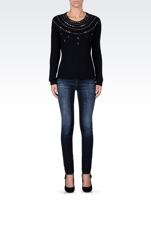 STUDDED CREW NECK SWEATER: Crewneck sweaters Women by Armani - 1