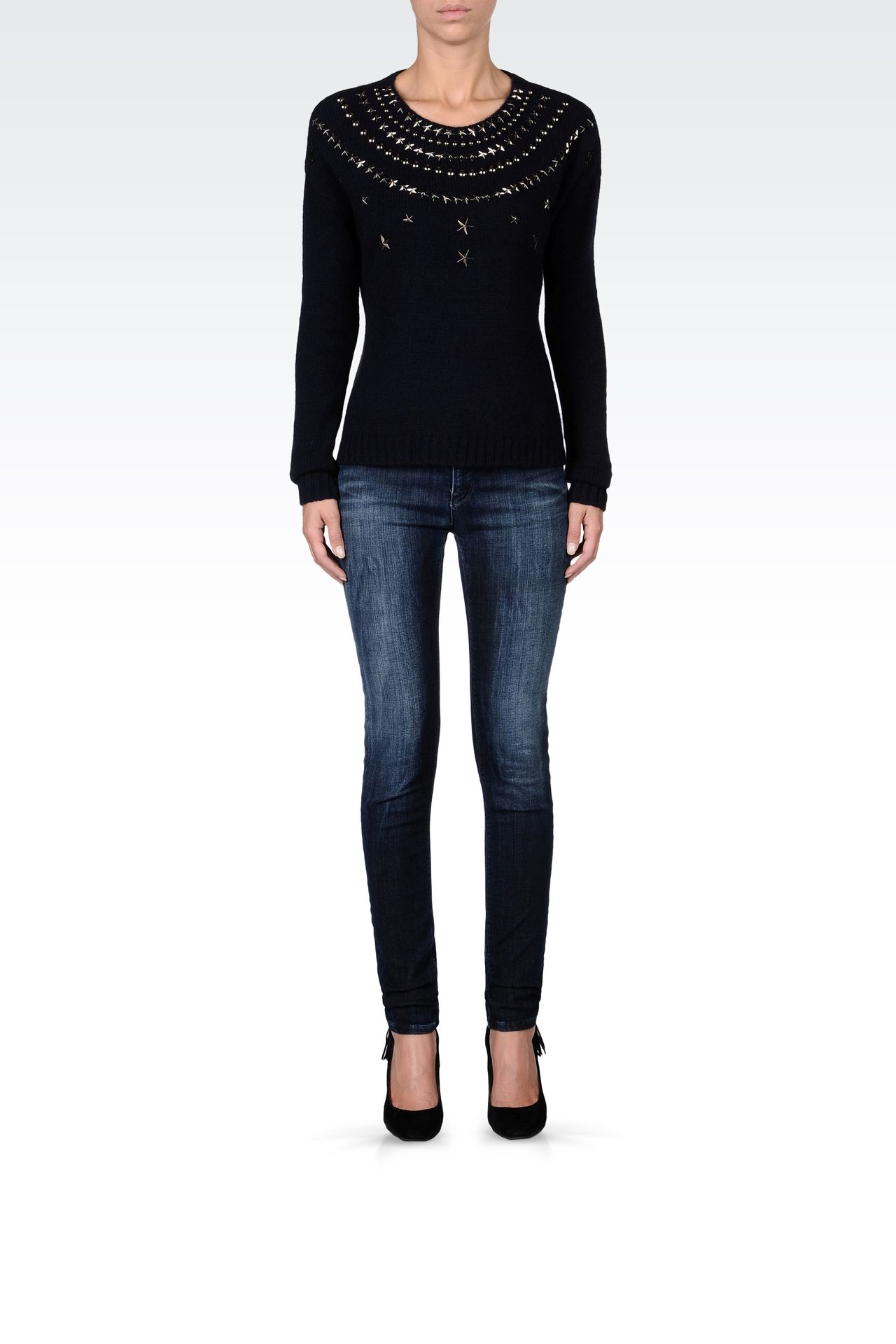 STUDDED CREW NECK SWEATER: Crewneck sweaters Women by Armani - 0