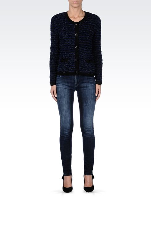 TWO-TONE STRIPED CREW NECK CARDIGAN: Cardigans Women by Armani - 1