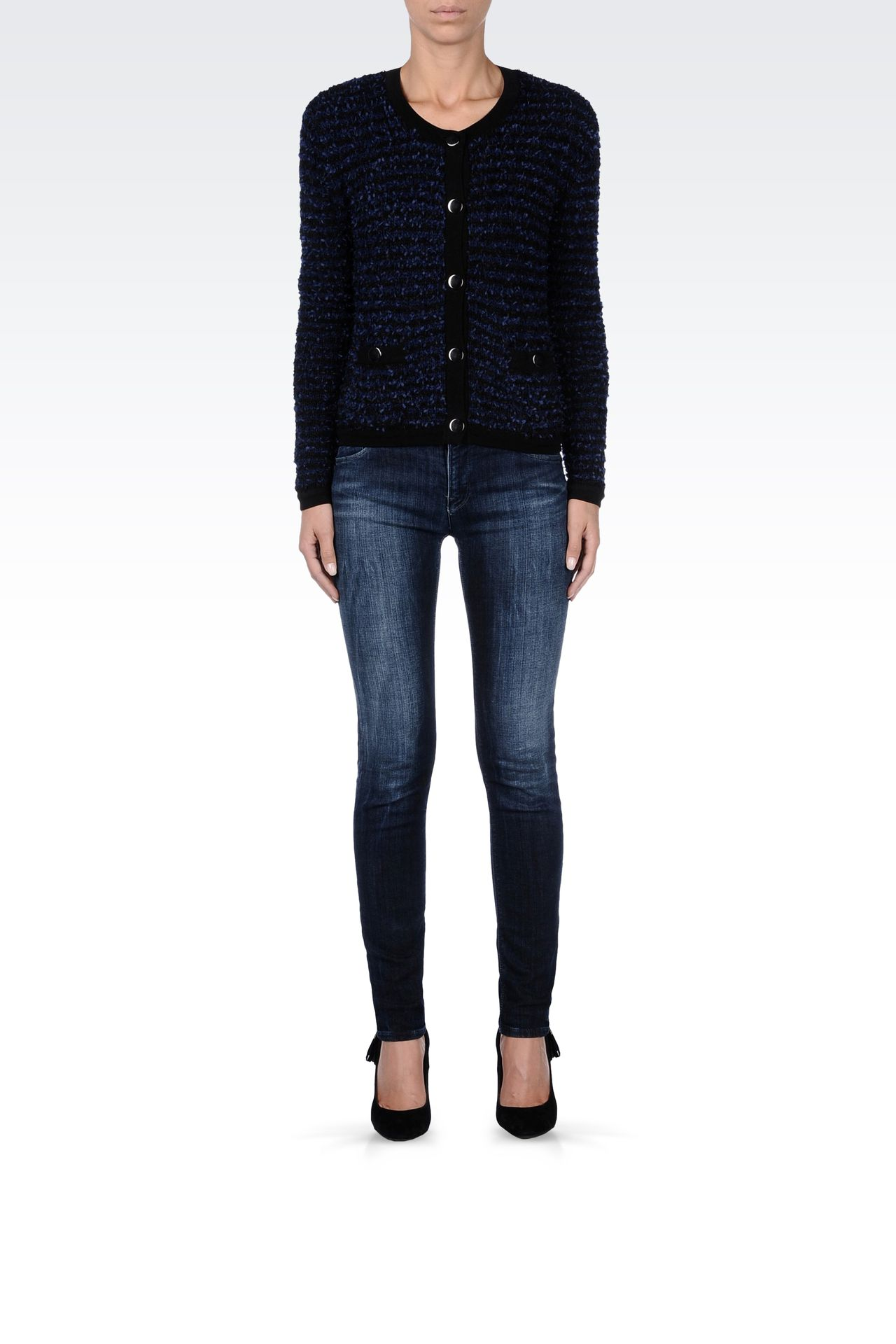 TWO-TONE STRIPED CREW NECK CARDIGAN: Cardigans Women by Armani - 0