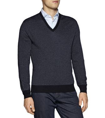 ERMENEGILDO ZEGNA: V-neck Blue - 39376363IC