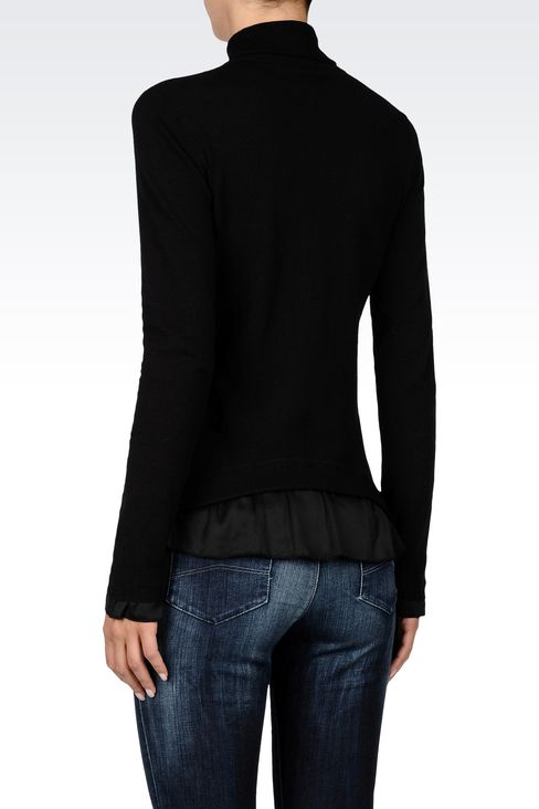 COTTON TURTLENECK WITH SATIN DETAILING: High neck sweaters Women by Armani - 3