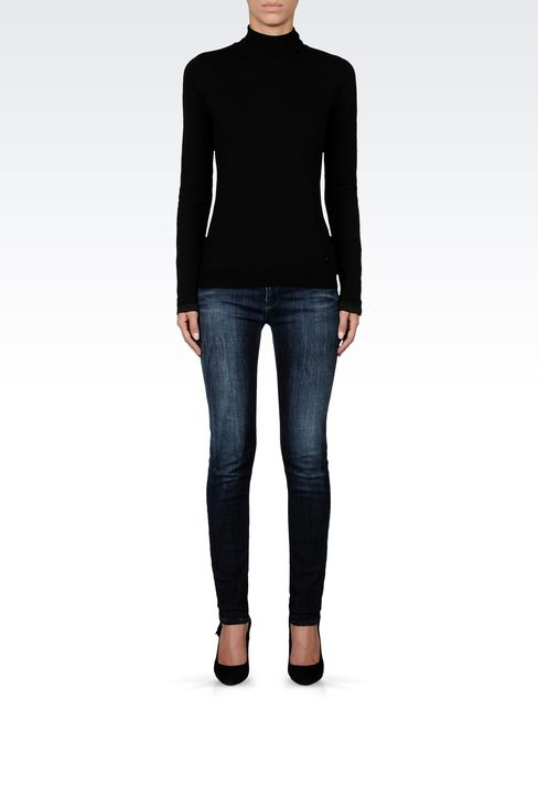 COTTON TURTLENECK WITH SATIN DETAILING: High neck sweaters Women by Armani - 1
