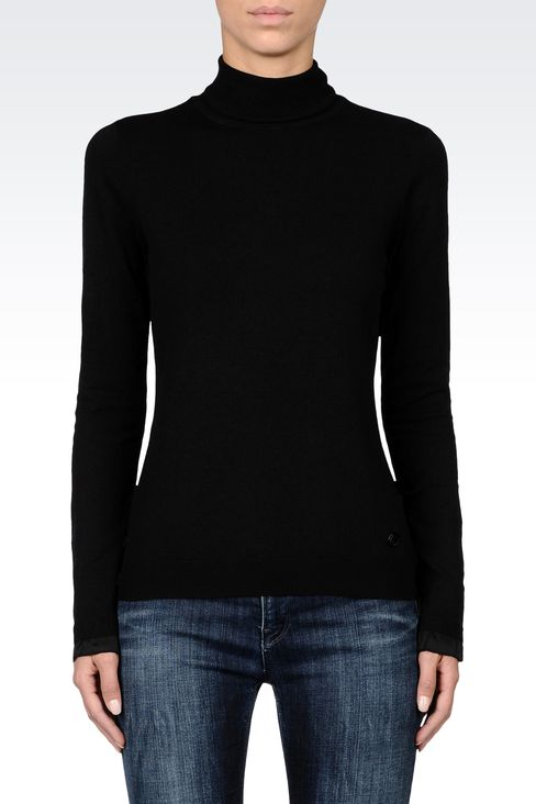 COTTON TURTLENECK WITH SATIN DETAILING: High neck sweaters Women by Armani - 2
