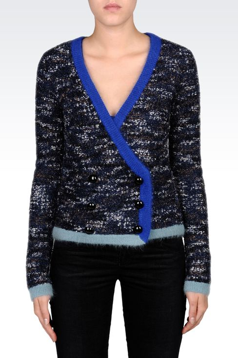 THREE-COLOR DOUBLE-BREASTED CARDIGAN : Cardigans Women by Armani - 2