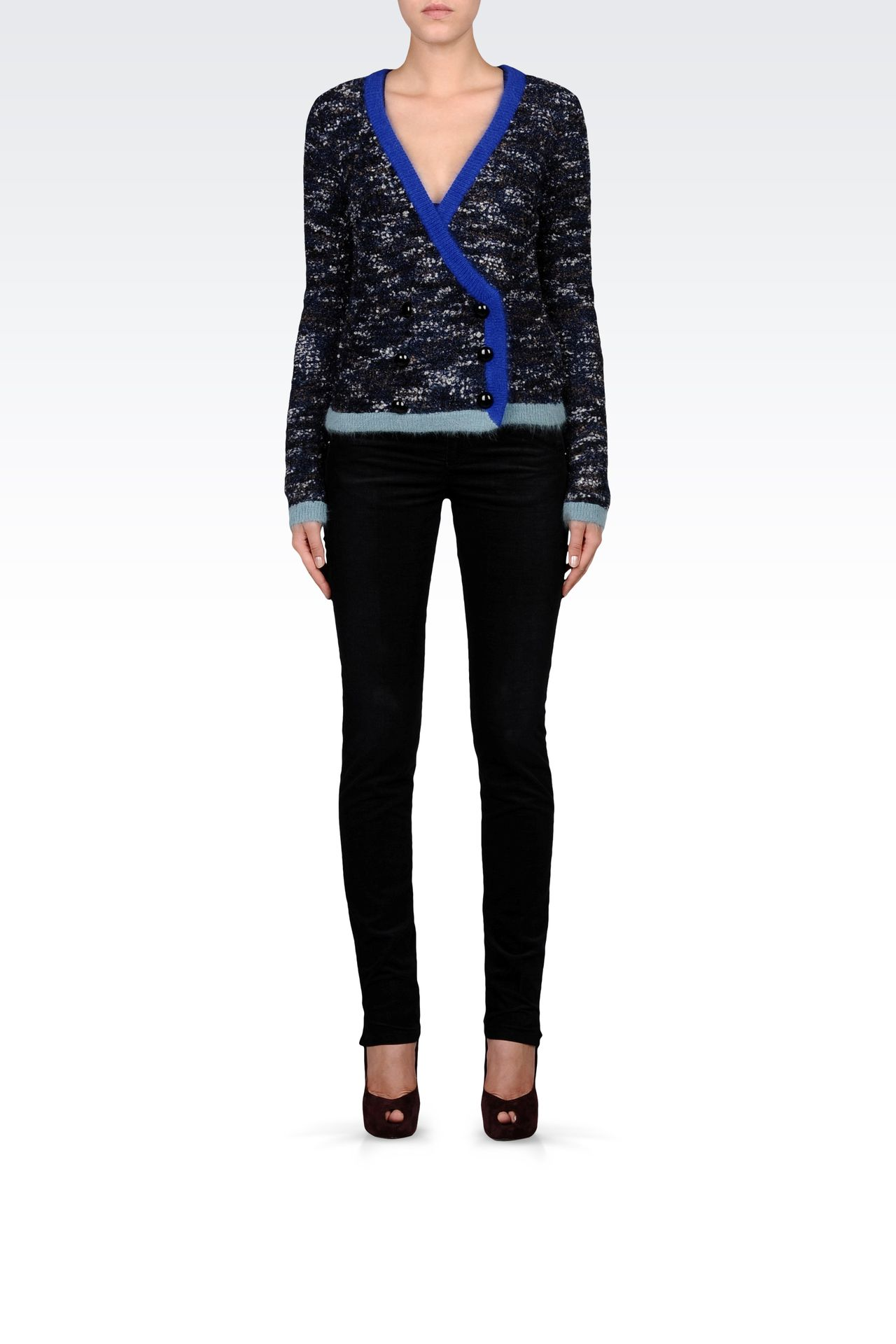 THREE-COLOR DOUBLE-BREASTED CARDIGAN : Cardigans Women by Armani - 0