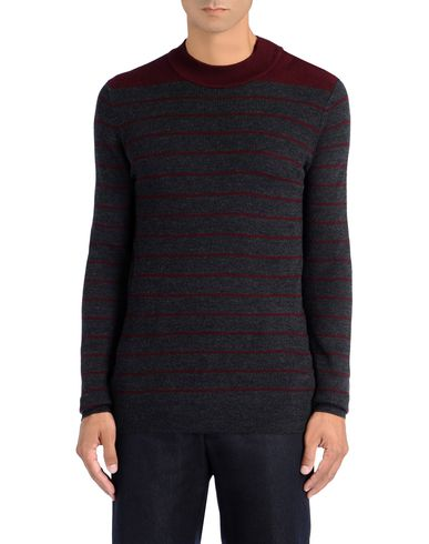 Button Neck Stripe Ribbed Jumper