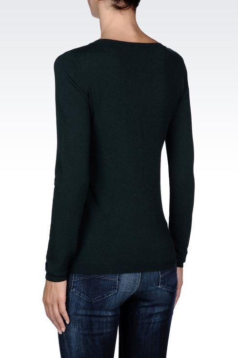 ASYMMETRICAL V-NECK SWEATER WITH ZIP: V  neck sweaters Women by Armani - 3