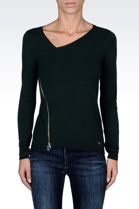 ASYMMETRICAL V-NECK SWEATER WITH ZIP: V  neck sweaters Women by Armani - 2