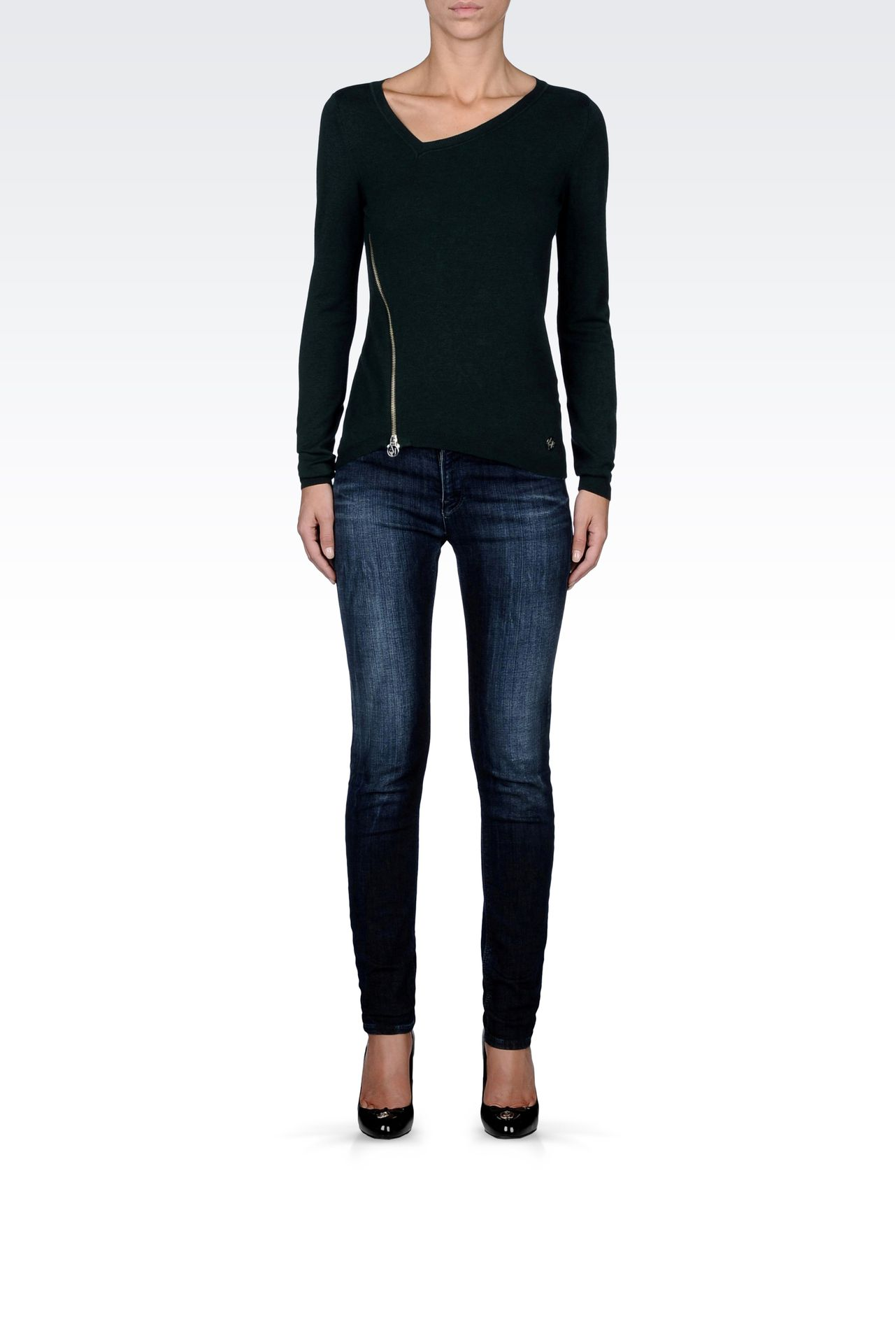 ASYMMETRICAL V-NECK SWEATER WITH ZIP: V  neck sweaters Women by Armani - 0
