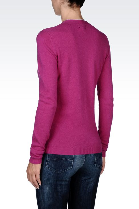 PURE CASHMERE V-NECK SWEATER: V  neck sweaters Women by Armani - 3