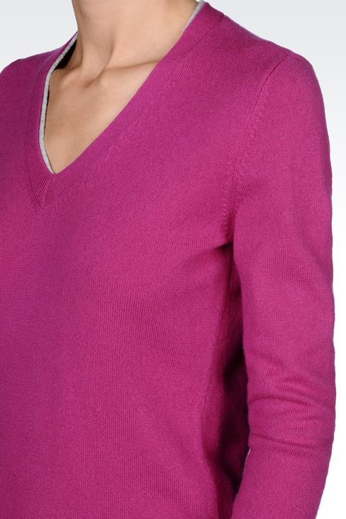 PURE CASHMERE V-NECK SWEATER: V  neck sweaters Women by Armani - 4