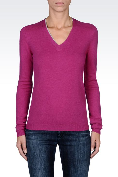PURE CASHMERE V-NECK SWEATER: V  neck sweaters Women by Armani - 2