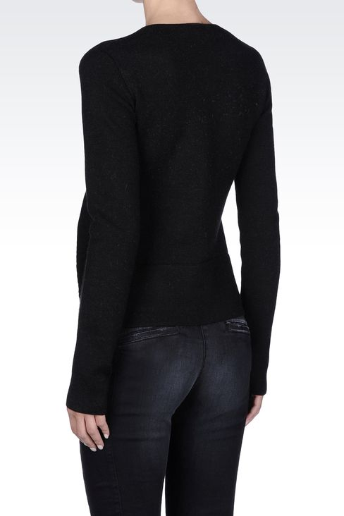 FULL ZIP JACKET WITH TWO-TONE RUCHING: Cardigans Women by Armani - 3
