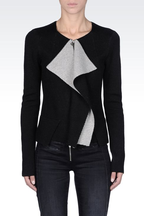 FULL ZIP JACKET WITH TWO-TONE RUCHING: Cardigans Women by Armani - 2