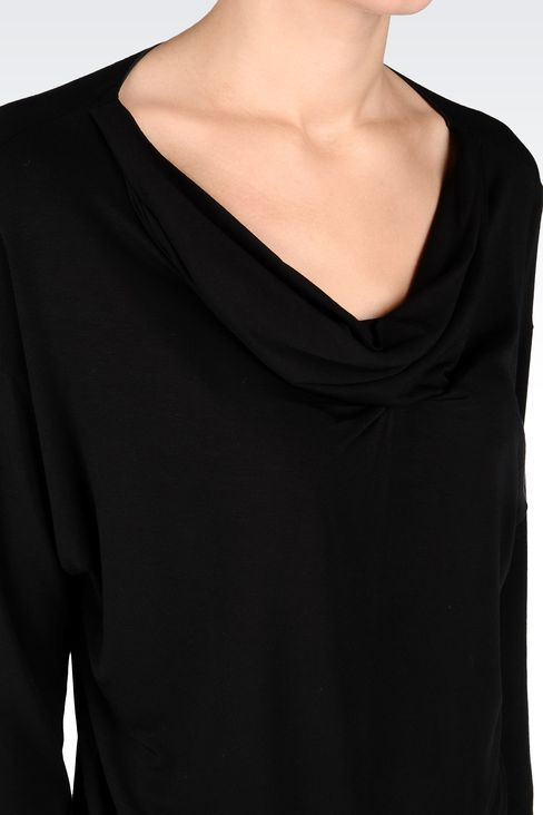 DRAPED JERSEY LONG SWEATER: Appliqué tops Women by Armani - 4