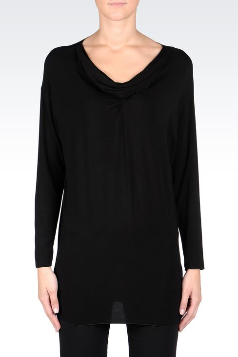 DRAPED JERSEY LONG SWEATER: Appliqué tops Women by Armani - 2