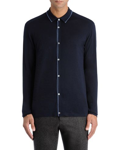 Contrast Trim Fine Knitted Shirt