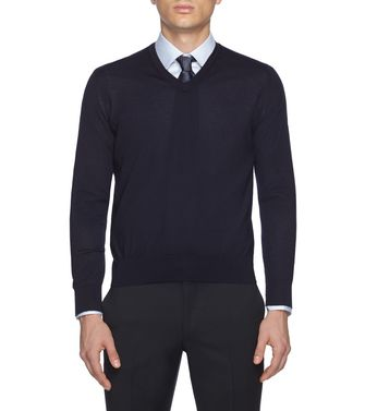 ERMENEGILDO ZEGNA: V-neck Steel grey - 39402785DO