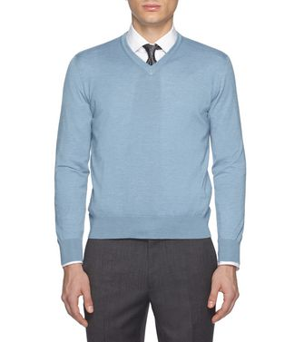 ERMENEGILDO ZEGNA: V-neck Steel grey - 39402786WU