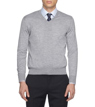 ERMENEGILDO ZEGNA: V-neck Steel grey - 39402788HW