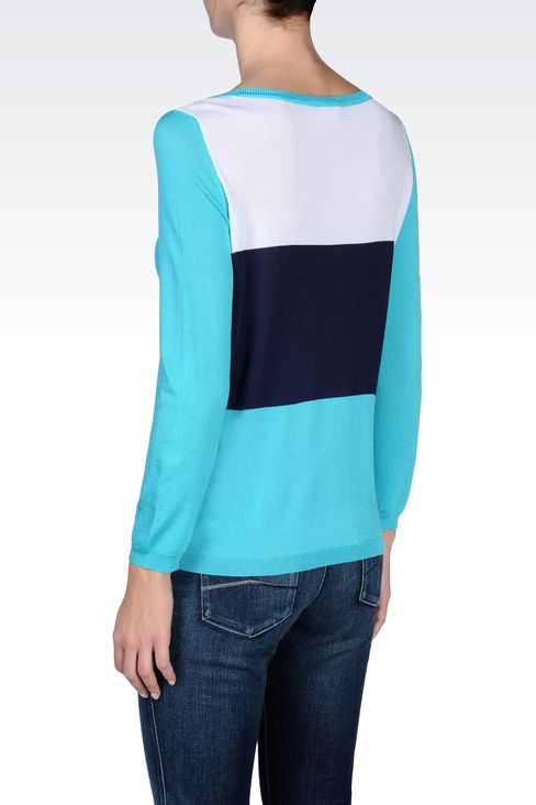 STRIPED SWEATER IN TECHNICAL VISCOSE: Crewneck sweaters Women by Armani - 3