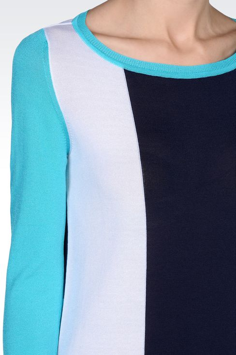 STRIPED SWEATER IN TECHNICAL VISCOSE: Crewneck sweaters Women by Armani - 4
