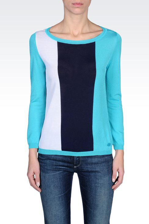 STRIPED SWEATER IN TECHNICAL VISCOSE: Crewneck sweaters Women by Armani - 2
