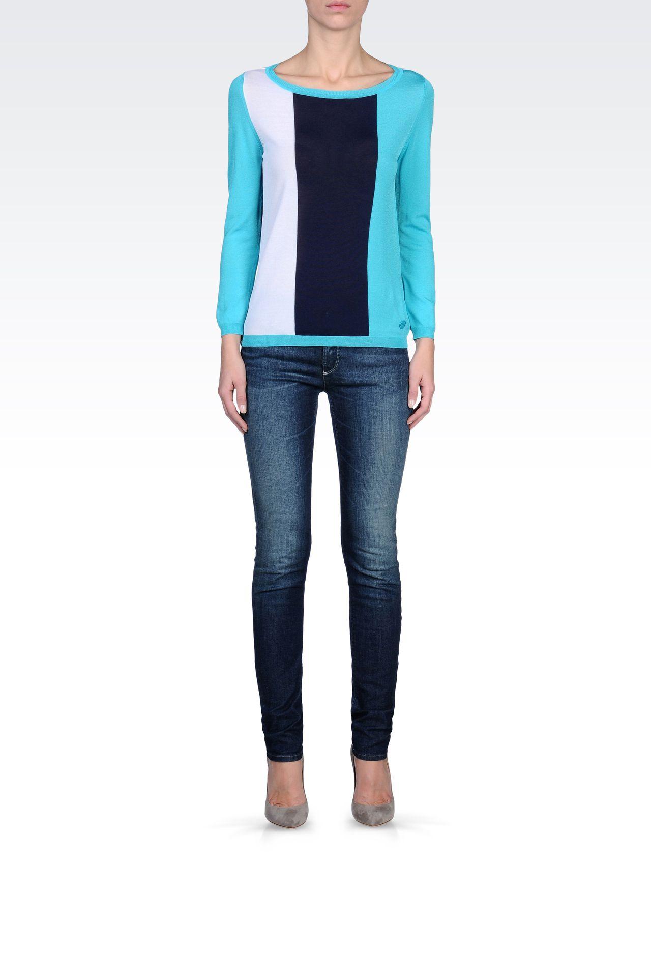 STRIPED SWEATER IN TECHNICAL VISCOSE: Crewneck sweaters Women by Armani - 0