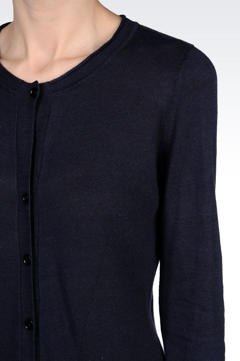CREW NECK VISCOSE CARDIGAN: Cardigans Women by Armani - 4