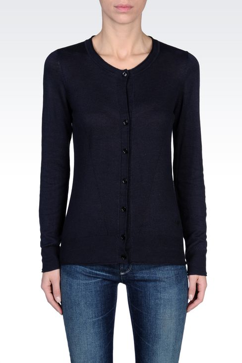 CREW NECK VISCOSE CARDIGAN: Cardigans Women by Armani - 2