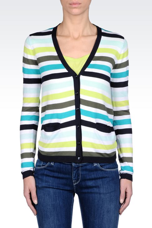STRIPED MODAL COTTON CARDIGAN: Cardigans Women by Armani - 2