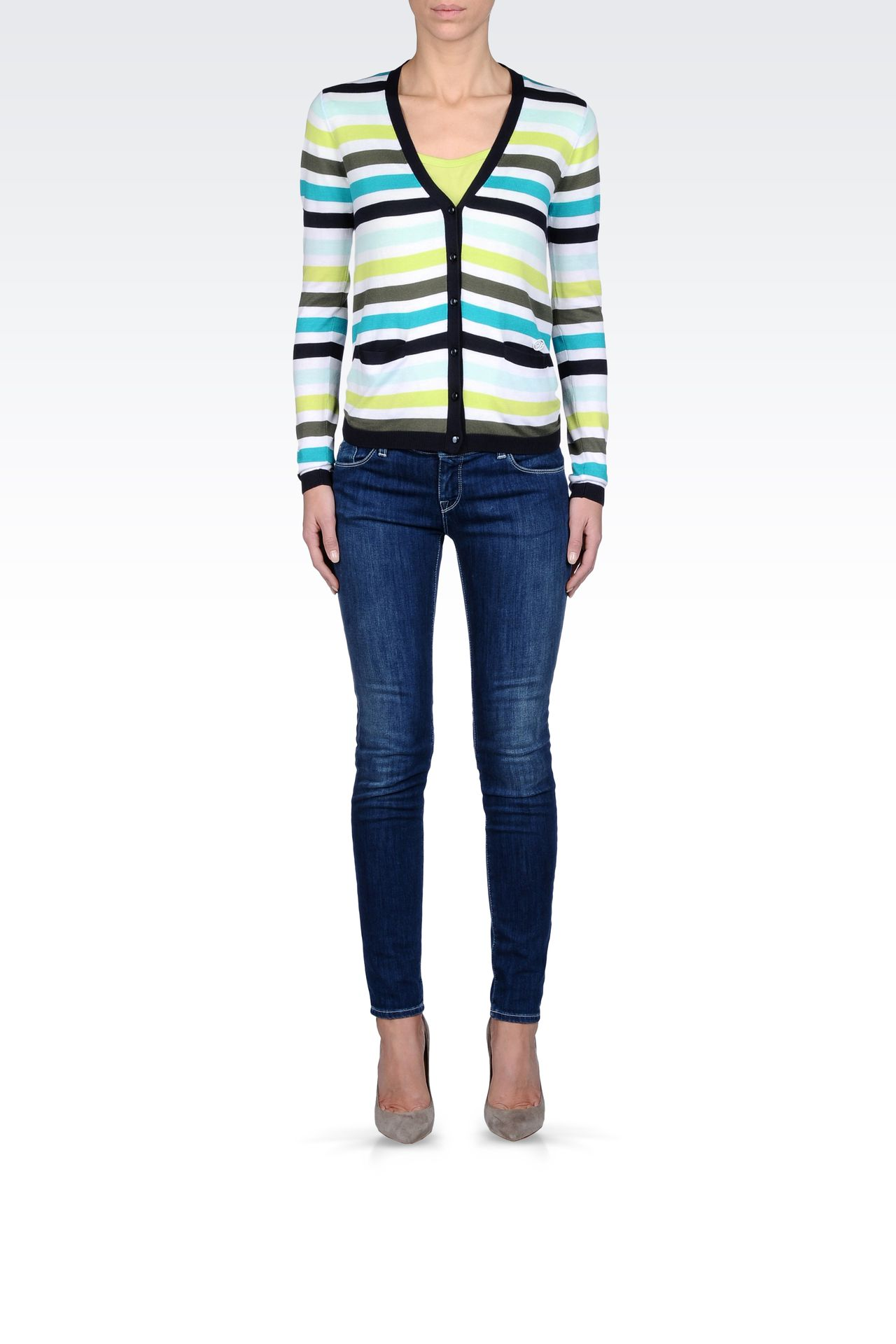 STRIPED MODAL COTTON CARDIGAN: Cardigans Women by Armani - 0