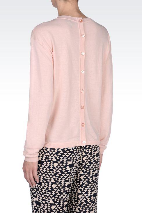 SWEATER IN LUREX COTTON JACQUARD: Crewneck sweaters Women by Armani - 3